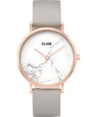 Dámské hodinky s šedým koženým řemínkem a mramorovým ciferníkem Cluse La  Roche Rose 52a63cab49