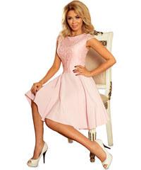 NUMOCO Dámské růžové elegantní šaty s krajkou 157-4 b01bfa26cfa