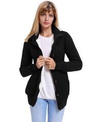 fa82299415c NoName - Dámský dlouhý svetr s kapucí černý