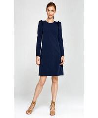 1d4b220f20ba NIFE Elegantné tmavomodré šaty s volánikom v Alínii S89G L