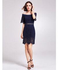 479ad6ef683 Alisa Pan Námořnicky modré krajkové šaty s lodičkovým výstřihem