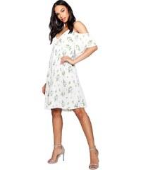 BOOHOO Boutique ELIZABETTA Bílé květované překládané šaty e8a917fa36d
