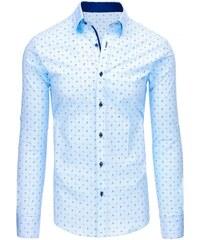 4edcca20737f Dstreet Blankytná pánska košela so vzorom a dlhými rukávmi