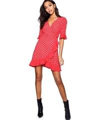 e61664e825f2 BOOHOO VIOLA Červené zavinovací šaty s puntíky