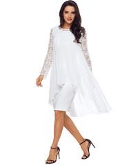 e302f2d283d NoName 02 Společenské šaty bílé s krajkovými rukávy