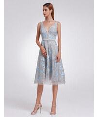 Ever-Pretty Šedé krajkové šaty s modrými aplikacemi 4a5214e1a5