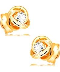 0594c0a33 Šperky eshop - Náušnice zo žltého 14K zlata - lesklý uzol z troch obručí,  číry