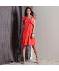 Výprodej-Slevy.cz Volánové šaty s odhalenými rameny korálová 92483fb365b