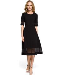 8efbc800c35d Jednoduché čierne áčkové šaty s tylom MOE272 42