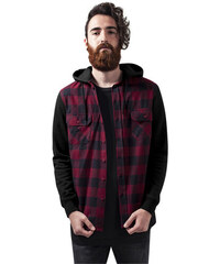 d95b7c25cd89 Urban Classics Hooded Checked Flanell Sweat Sleeve Shirt blk burgundy blk
