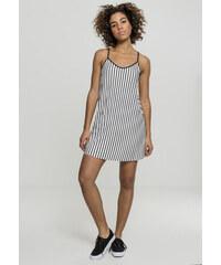 Urban Classics Ladies Striped Pleated Slip Dress white black 8da5a89f64
