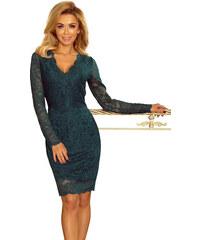 numoco Společenské dámské šaty s dlouhým rukávem krajkové zelené ... 501a06a394