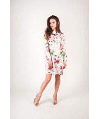 63b845d81ec BUfashion Saténové šaty s květinovými vzory