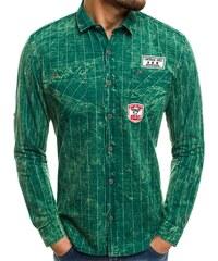 18751d56966 OZONEE Northist 2505 Zelená Pánská Košile