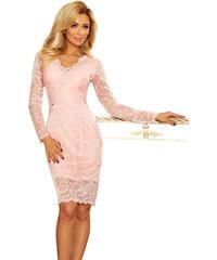 NUMOCO Ružové čipkované šaty s výstrihom 170-4 f036a564773