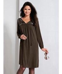 97a06de13526 Vypredaj-zlavy.sk Šaty s naberaním a dlhými rukávmi khaki