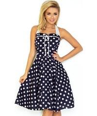 NUMOCO Modré retro šaty s bodkami 30-20 e8f65a39b74