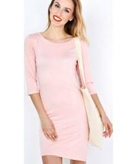 BASIC Růžové šaty bez potisku (S3147-40) 68134e3ad9