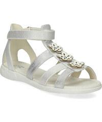 1f413e7e0fa6 Mini B Strieborné dievčenské sandále s kvetmi
