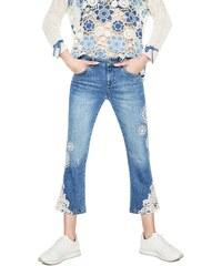 Desigual modré džíny s krajkou Survive - 26 6012e1fa99