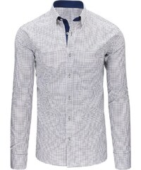 b74462e9e9e6 Dstreet Čierno-biela pánska kockovaná košeľa s dlhými rukávmi