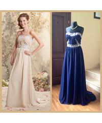 Krásné tmavě modré šifonové plesové společenské šaty s vlečkou zdobené  stříbrnou výšivkou 083cb02ab8