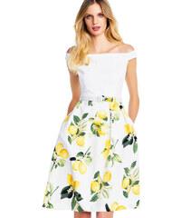 Adrianna Papell letní bílé šaty s rozšířenou sukní s potiskem citrónů b8f637f8ba