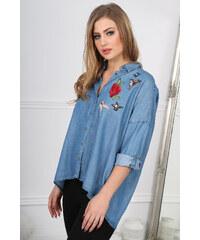 fa1cecb67018 Amando Trendy riflová košeľa s nášivkami BB20677