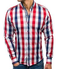 9c7202da403f Červená pánska károvaná košeľa s dlhými rukávmi BOLF 2779