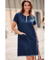 81c0cb04362 Výprodej-Slevy.cz Džínové šaty se zipovým výstřihem modrá