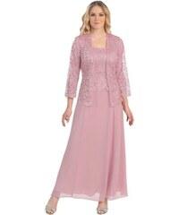 Glamor Ružové dlhé spoločenské šaty s čipkovaným kabátikom e92e09cbdf8