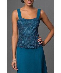 09e6b85d7252 Glamor Krátke spoločenské šaty s čipkovaným kabátikom modrozelenej