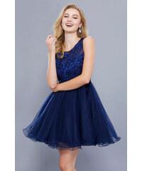 Glamor Modré krátké šaty s tutu sukní 60a2f7992bb