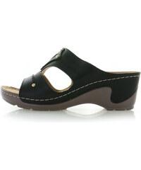 Černé zlevněné dámské boty na podpatku - Glami.cz 9fde00a9a3f
