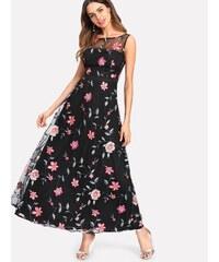 LM moda A Dlouhé černé šaty s vyšitými květy 8305 24245b1ddc