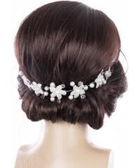 Fashion Icon Svatební ozdoba do vlasů - čelenka Stříbrné kytky s krystalky 8fa29c5d98