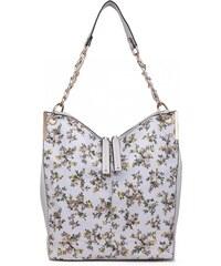 78cda71399 Lulu Bags (Anglie) Veľká svetlo sivá kabelka cez rameno v motíve kvetín Miss  Lulu
