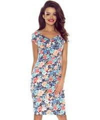 d2ada2a1363a Dámske šaty Bergamo Alice 107-01 kvietky na modrom základe