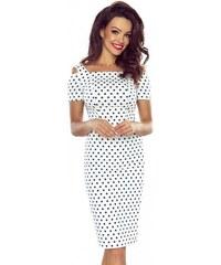 a1853600777 BERGAMO Dámské šaty Roxi bílé s modrými puntíky
