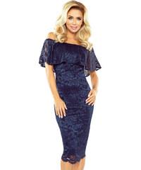 994a01ba133c morimia Dámské šaty s volánem středně dlouhé krajkové tmavě modré