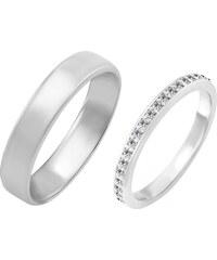 Eppi Zlaté svadobné obrúčky s eternity prsteňom a komfortným prsteňom Carl 794818074c2