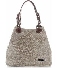 4d45eec55240 Univerzální kožená italská kabelka v květinovém vzoru Vittoria Gotti béžová.  1 904 Kč
