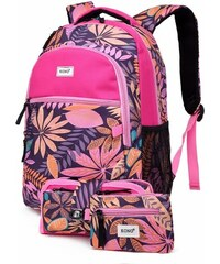 b0f74cbe319 Kono Školní batoh - Paradise - růžový - s penálem a peněženkou