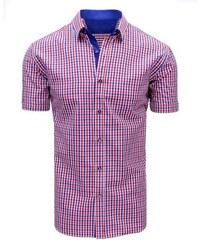 Manstyle Červeno-modrá pánská moderní košile čtverečkovaná ba0cf9f3a7