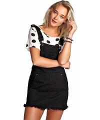BOOHOO Černá džínová laclová mini sukně Betty 6b6926ce74
