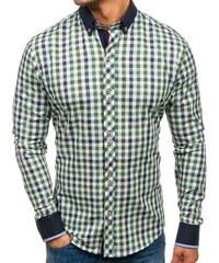 Zelená pánská kostkovaná košile s dlouhým rukávem Bolf 8813 4da1b30eed