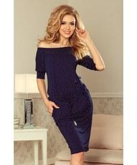 f48703ba1f0 NUMOCO Tmavě modré šaty NICOLLE s krajkovými rukávy 210-2 - Glami.cz