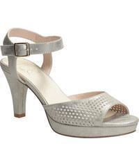 6cd536e8194c Insolia Strieborné dámske sandále na podpätku s perforáciou
