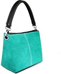 1653adac24 Kožená kabelka Miss Lulu Suede Single Strap Green