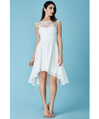 CITYGODDESS Společenské šaty Divine bílé se šikmou sukní 3c227be9c5